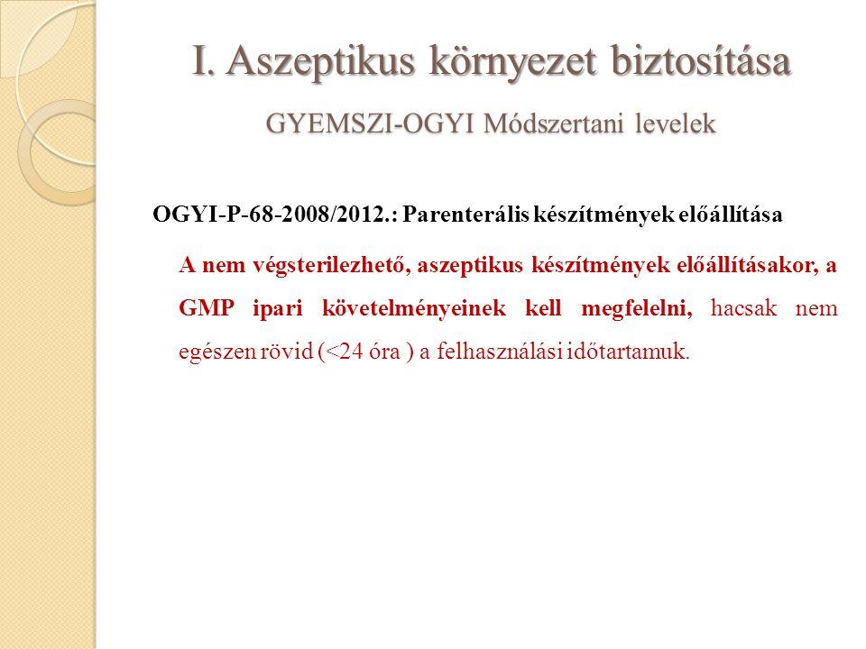 I. Aszeptikus környezet biztosítása GYEMSZI-OGYI Módszertani levelek OGYI-P-68-2008/2012.: Parenterális készítmények előállítása A nem végsterilezhető