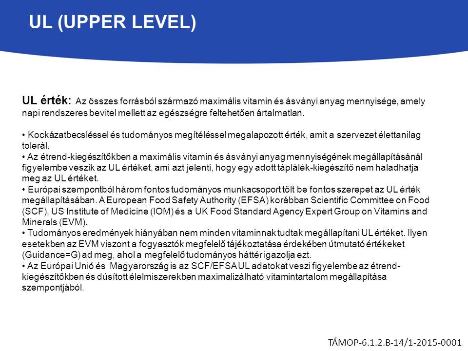 UL (UPPER LEVEL) UL érték: Az összes forrásból származó maximális vitamin és ásványi anyag mennyisége, amely napi rendszeres bevitel mellett az egészségre feltehetően ártalmatlan.