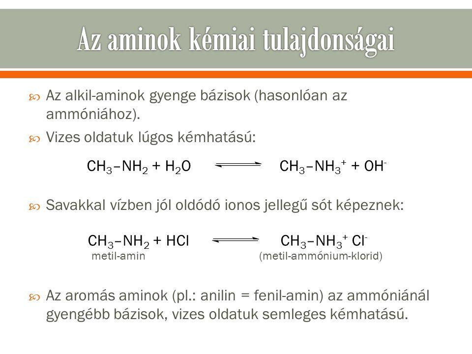  Az alkil-aminok gyenge bázisok (hasonlóan az ammóniához).
