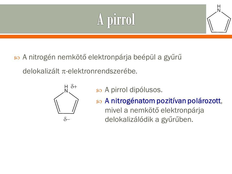  A nitrogén nemkötő elektronpárja beépül a gyűrű delokalizált  -elektronrendszerébe.