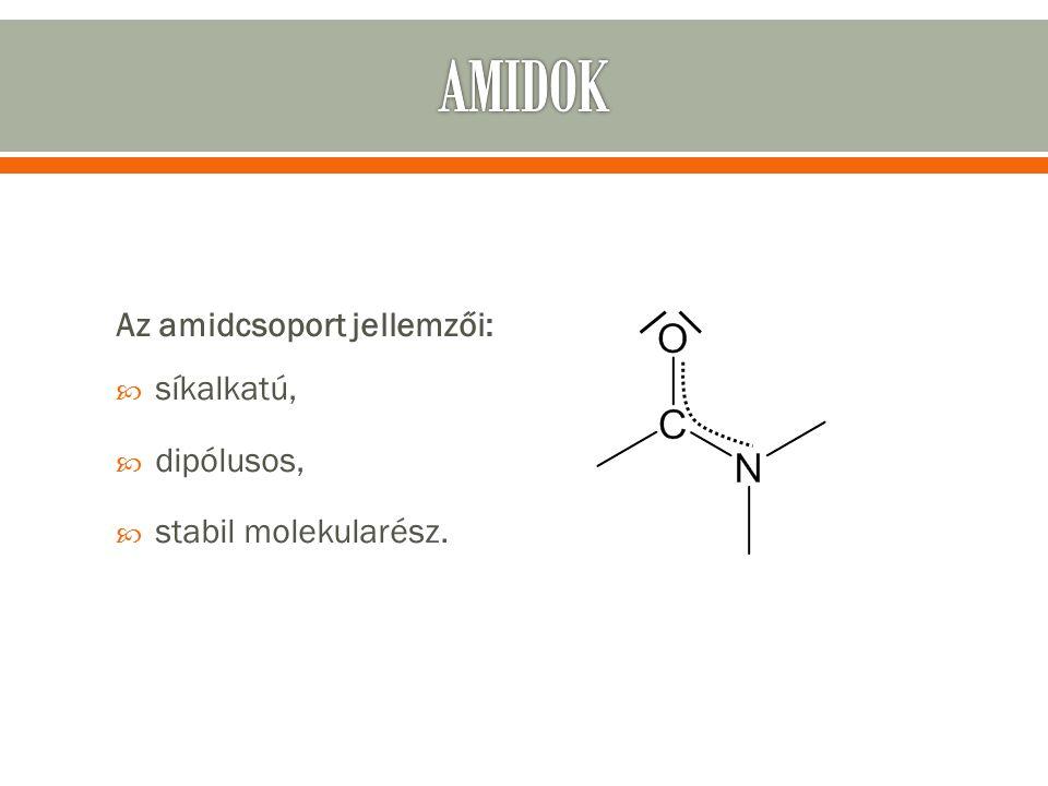 Az amidcsoport jellemzői:  síkalkatú,  dipólusos,  stabil molekularész.