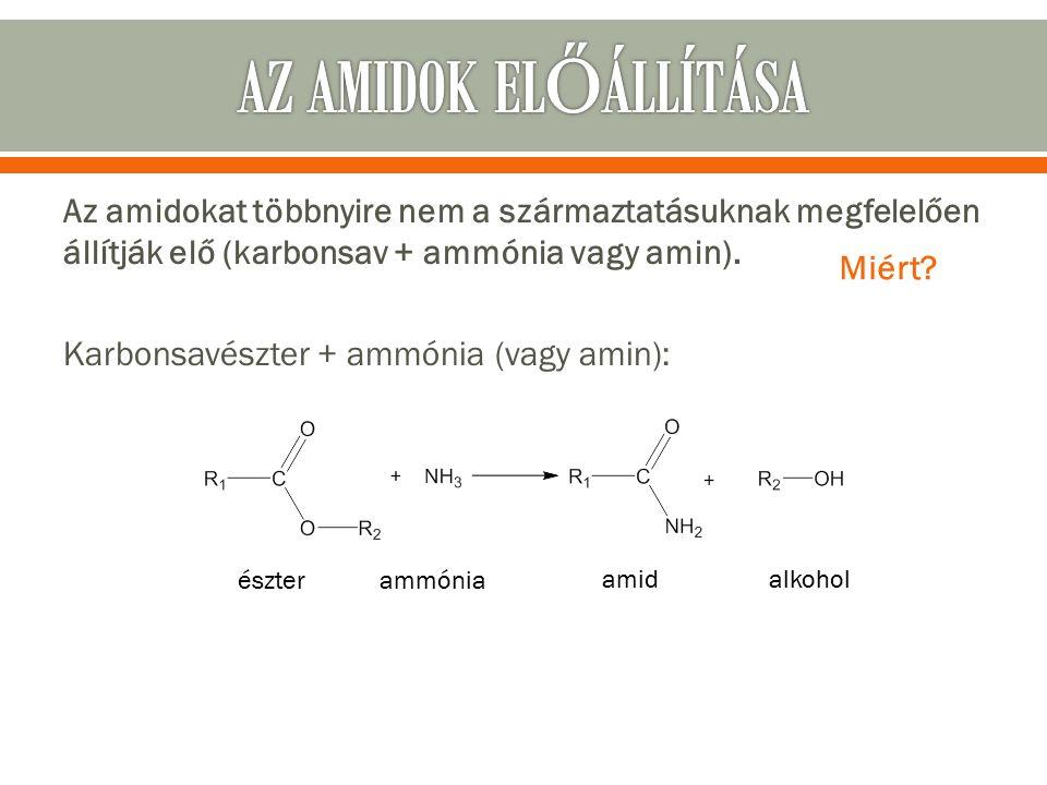 Az amidokat többnyire nem a származtatásuknak megfelelően állítják elő (karbonsav + ammónia vagy amin).