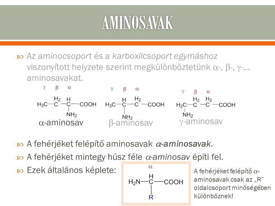  Az aminocsoport és a karboxilcsoport egymáshoz viszonyított helyzete szerint megkülönböztetünk  -,  -,  -… aminosavakat.
