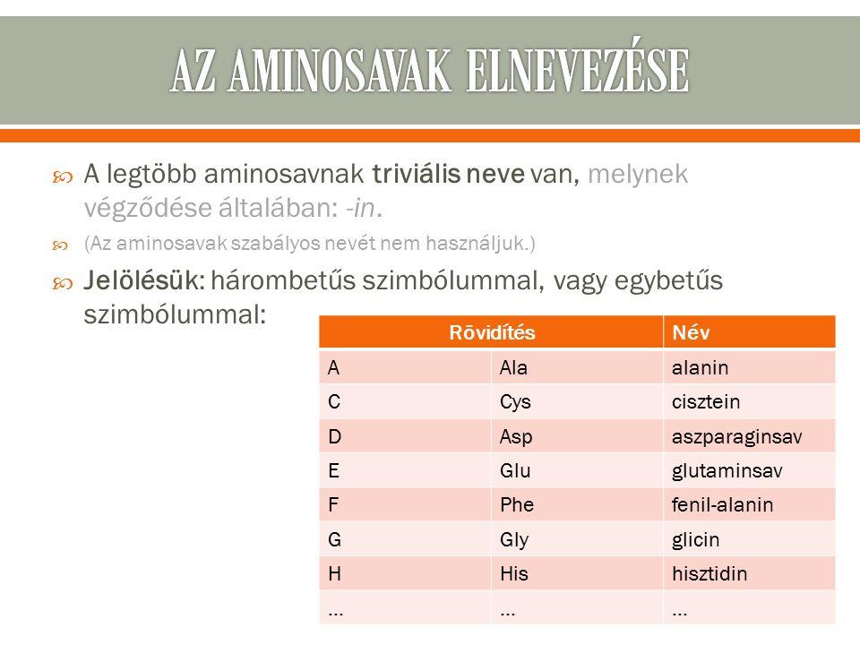  A legtöbb aminosavnak triviális neve van, melynek végződése általában: -in.