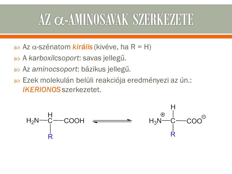  Az  -szénatom királis (kivéve, ha R = H)  A karboxilcsoport: savas jellegű.