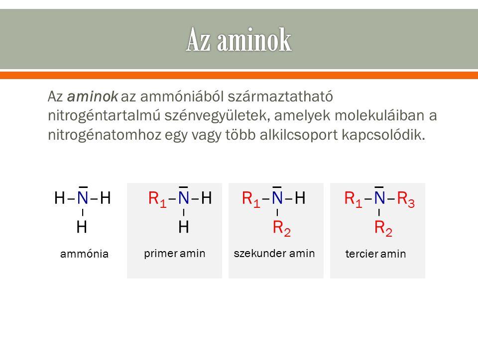 Az aminok az ammóniából származtatható nitrogéntartalmú szénvegyületek, amelyek molekuláiban a nitrogénatomhoz egy vagy több alkilcsoport kapcsolódik.