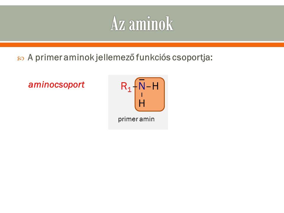 A primer aminok jellemező funkciós csoportja: aminocsoport R 1 –N–H – H primer amin