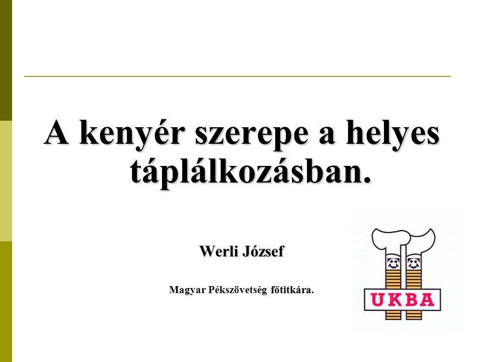 A kenyér szerepe a helyes táplálkozásban. Werli József főtitkára Magyar Pékszövetség főtitkára.