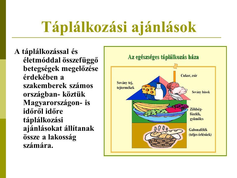 Táplálkozási ajánlások A táplálkozással és életmóddal összefüggő betegségek megelőzése érdekében a szakemberek számos országban- köztük Magyarországon- is időről időre táplálkozási ajánlásokat állítanak össze a lakosság számára.