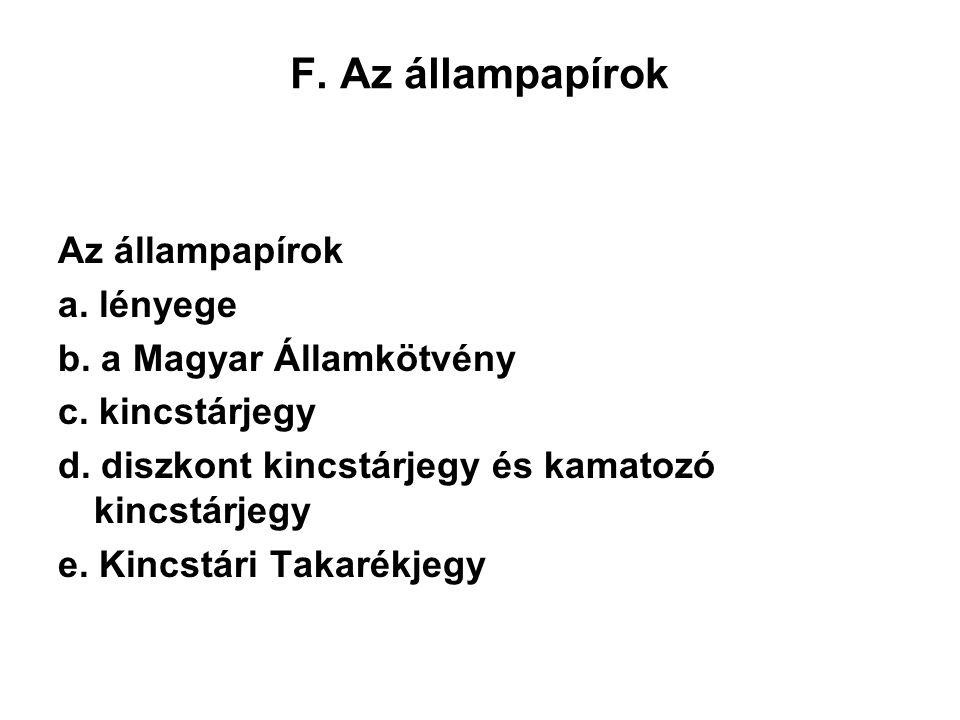 F.Az állampapírok Az állampapírok a. lényege b. a Magyar Államkötvény c.