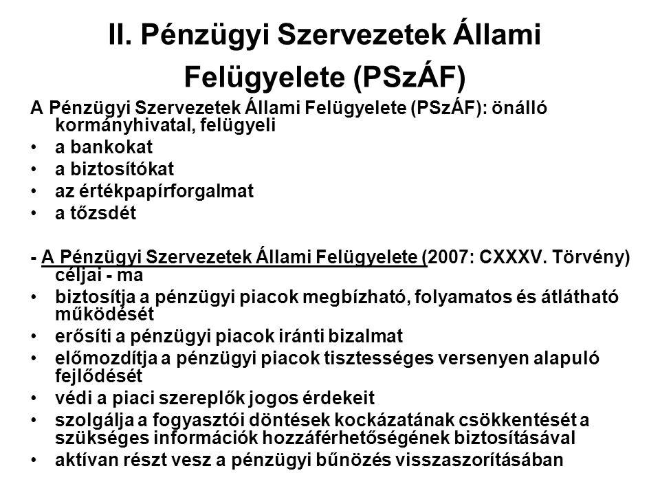II. Pénzügyi Szervezetek Állami Felügyelete (PSzÁF) A Pénzügyi Szervezetek Állami Felügyelete (PSzÁF): önálló kormányhivatal, felügyeli a bankokat a b