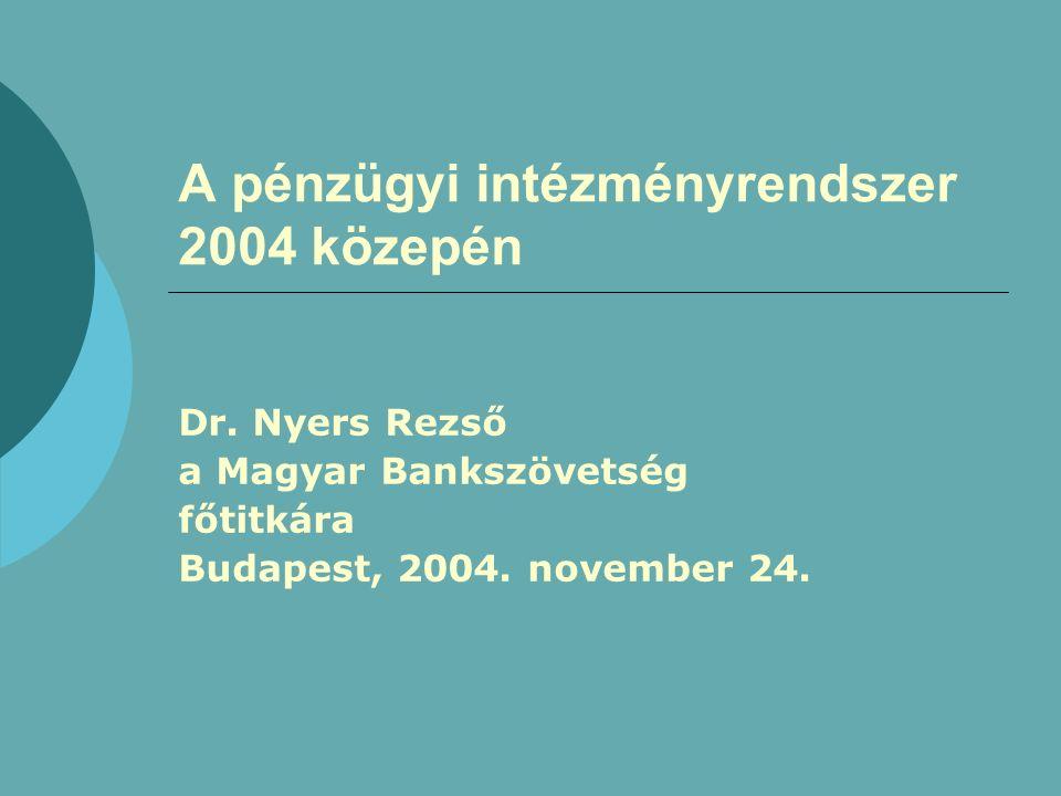 A pénzügyi intézményrendszer 2004 közepén Dr.