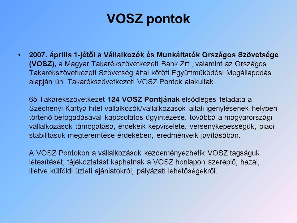 VOSZ pontok 2007. április 1-jétől a Vállalkozók és Munkáltatók Országos Szövetsége (VOSZ), a Magyar Takarékszövetkezeti Bank Zrt., valamint az Országo