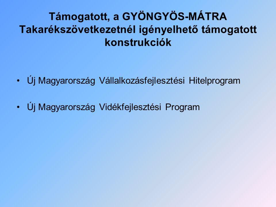 Támogatott, a GYÖNGYÖS-MÁTRA Takarékszövetkezetnél igényelhető támogatott konstrukciók Új Magyarország Vállalkozásfejlesztési Hitelprogram Új Magyaror