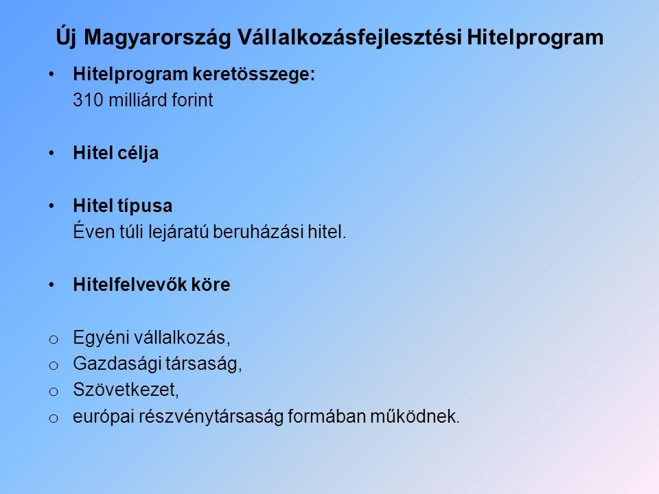 Új Magyarország Vállalkozásfejlesztési Hitelprogram Hitelprogram keretösszege: 310 milliárd forint Hitel célja Hitel típusa Éven túli lejáratú beruház