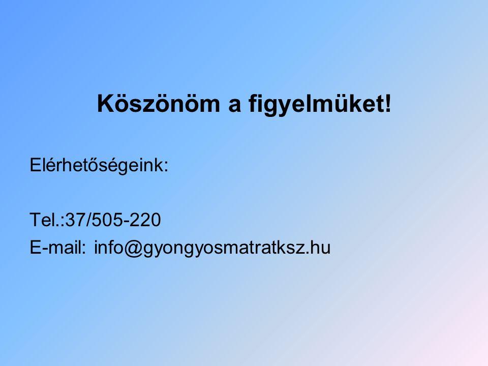 Köszönöm a figyelmüket! Elérhetőségeink: Tel.:37/505-220 E-mail: info@gyongyosmatratksz.hu