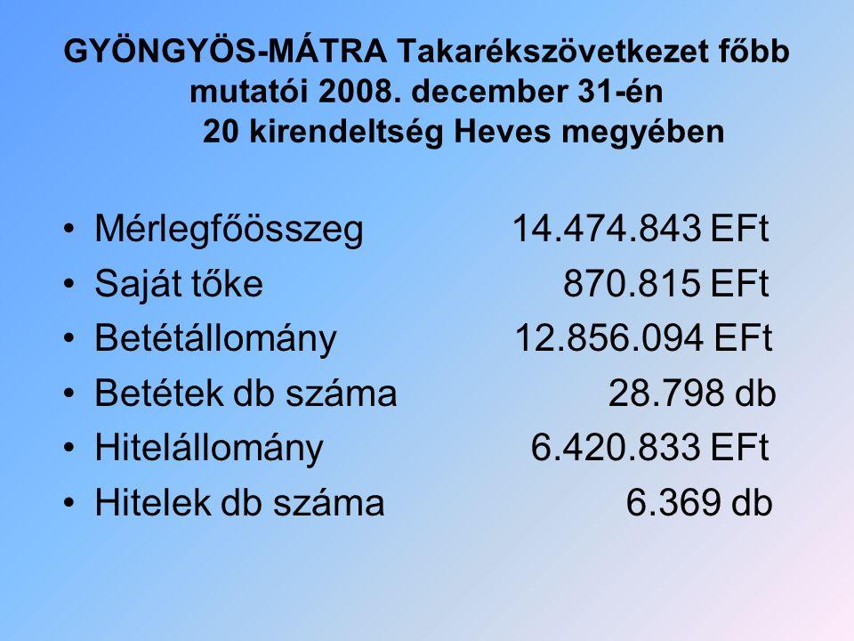 GYÖNGYÖS-MÁTRA Takarékszövetkezet főbb mutatói 2008. december 31-én 20 kirendeltség Heves megyében Mérlegfőösszeg 14.474.843 EFt Saját tőke 870.815 EF