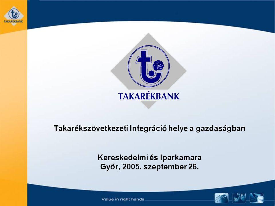 Takarékszövetkezeti Integráció helye a gazdaságban Kereskedelmi és Iparkamara Győr, 2005. szeptember 26.