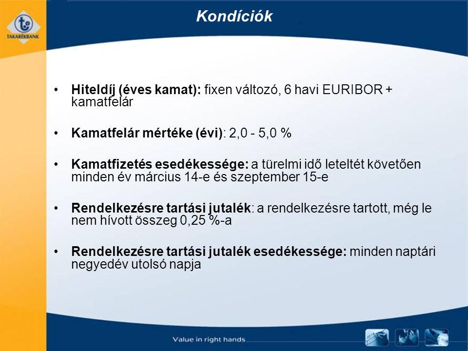 Kondíciók Hiteldíj (éves kamat): fixen változó, 6 havi EURIBOR + kamatfelár Kamatfelár mértéke (évi): 2,0 - 5,0 % Kamatfizetés esedékessége: a türelmi idő leteltét követően minden év március 14-e és szeptember 15-e Rendelkezésre tartási jutalék: a rendelkezésre tartott, még le nem hívott összeg 0,25 %-a Rendelkezésre tartási jutalék esedékessége: minden naptári negyedév utolsó napja