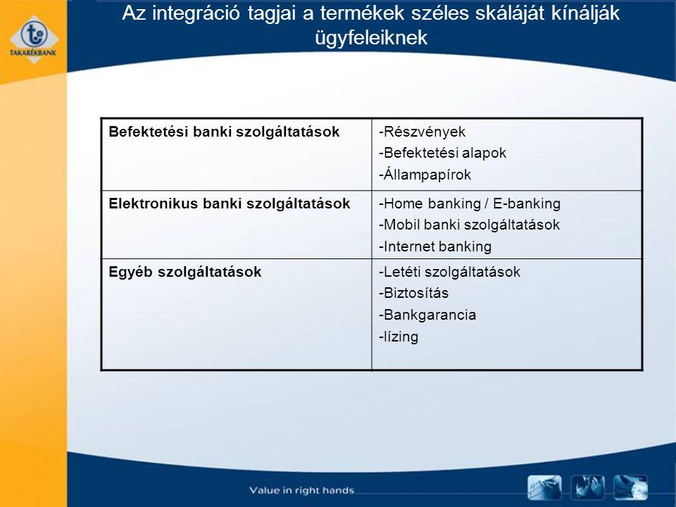 Az integráció tagjai a termékek széles skáláját kínálják ügyfeleiknek Befektetési banki szolgáltatások-Részvények -Befektetési alapok -Állampapírok Elektronikus banki szolgáltatások-Home banking / E-banking -Mobil banki szolgáltatások -Internet banking Egyéb szolgáltatások-Letéti szolgáltatások -Biztosítás -Bankgarancia -lízing