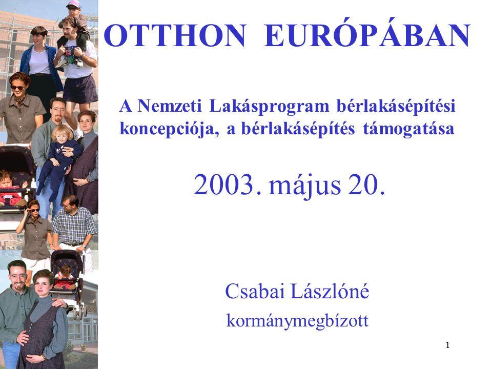 1 OTTHON EURÓPÁBAN A Nemzeti Lakásprogram bérlakásépítési koncepciója, a bérlakásépítés támogatása 2003.