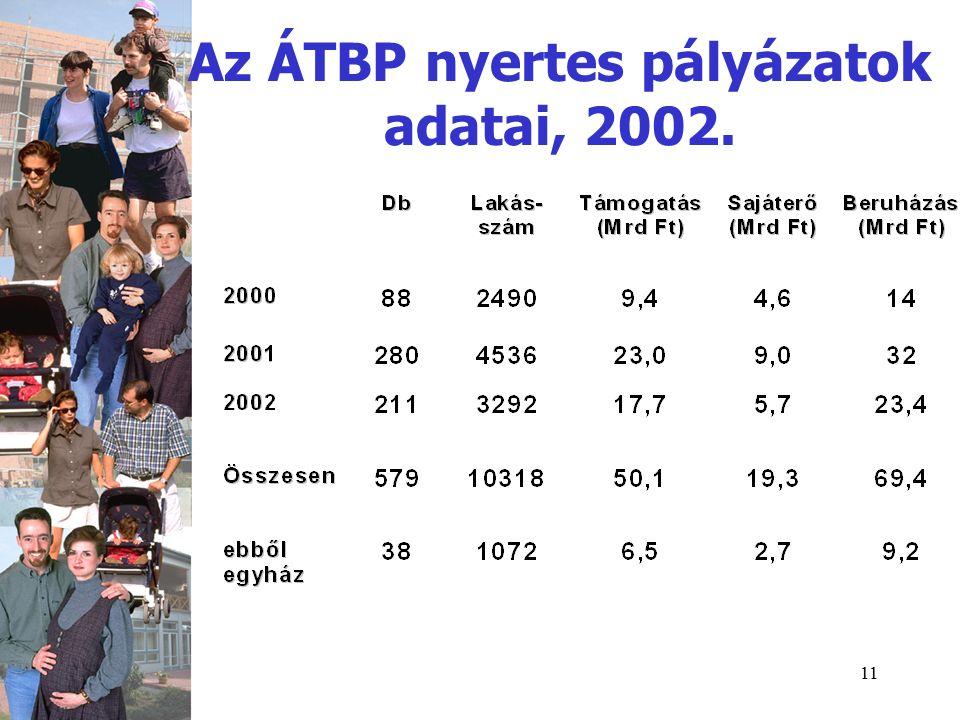 11 Az ÁTBP nyertes pályázatok adatai, 2002.