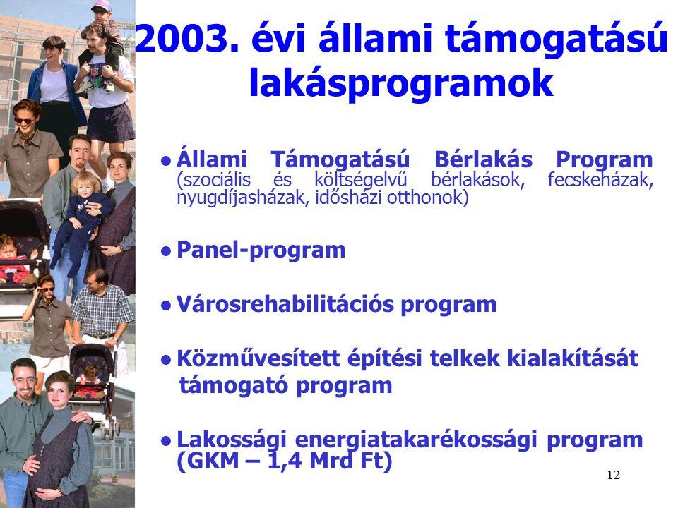12 Állami Támogatású Bérlakás Program (szociális és költségelvű bérlakások, fecskeházak, nyugdíjasházak, idősházi otthonok) Panel-program Városrehabilitációs program Közművesített építési telkek kialakítását támogató program Lakossági energiatakarékossági program (GKM – 1,4 Mrd Ft) 2003.