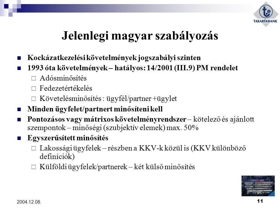 11 2004.12.08. Jelenlegi magyar szabályozás Kockázatkezelési követelmények jogszabályi szinten 1993 óta követelmények – hatályos: 14/2001 (III.9) PM r