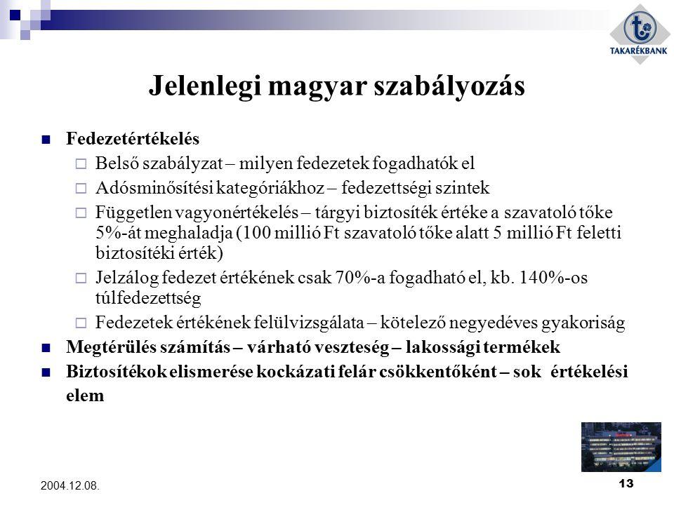 13 2004.12.08. Jelenlegi magyar szabályozás Fedezetértékelés  Belső szabályzat – milyen fedezetek fogadhatók el  Adósminősítési kategóriákhoz – fede