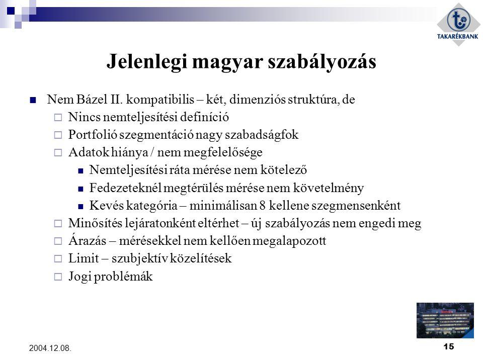 15 2004.12.08. Jelenlegi magyar szabályozás Nem Bázel II. kompatibilis – két, dimenziós struktúra, de  Nincs nemteljesítési definíció  Portfolió sze
