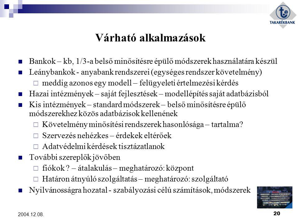20 2004.12.08. Várható alkalmazások Bankok – kb, 1/3-a belső minősítésre épülő módszerek használatára készül Leánybankok - anyabank rendszerei (egység