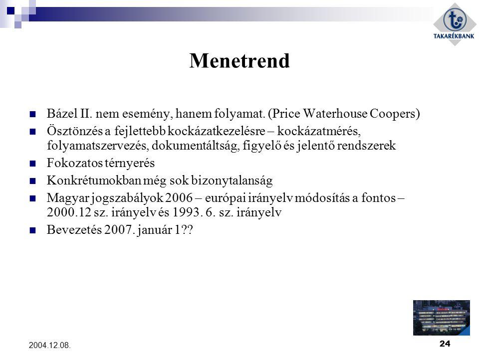 24 2004.12.08. Menetrend Bázel II. nem esemény, hanem folyamat. (Price Waterhouse Coopers) Ösztönzés a fejlettebb kockázatkezelésre – kockázatmérés, f
