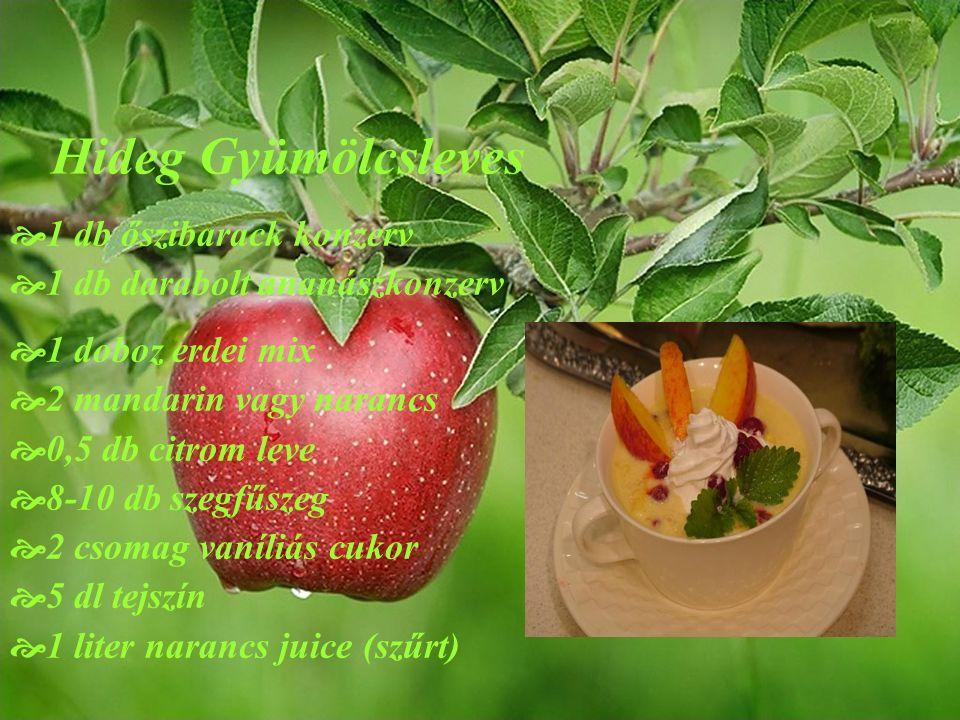 Hideg Gyümölcsleves  1 db őszibarack konzerv  1 db darabolt ananászkonzerv  1 doboz erdei mix  2 mandarin vagy narancs  0,5 db citrom leve  8-10