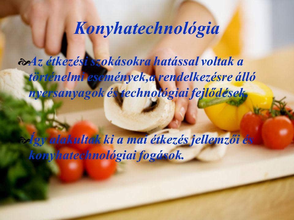Konyhatechnológia  Az étkezési szokásokra hatással voltak a történelmi események,a rendelkezésre álló nyersanyagok és technológiai fejlődések.  Így