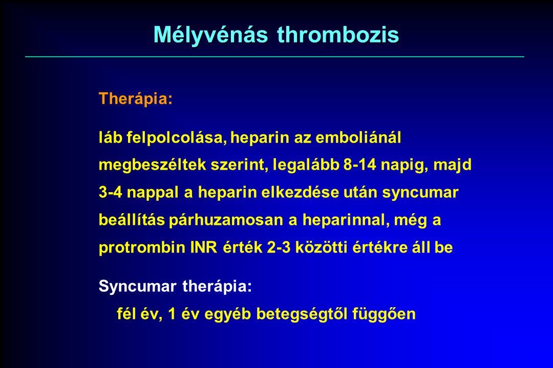 Mélyvénás thrombozis Therápia: láb felpolcolása, heparin az emboliánál megbeszéltek szerint, legalább 8-14 napig, majd 3-4 nappal a heparin elkezdése után syncumar beállítás párhuzamosan a heparinnal, még a protrombin INR érték 2-3 közötti értékre áll be Syncumar therápia: fél év, 1 év egyéb betegségtől függően