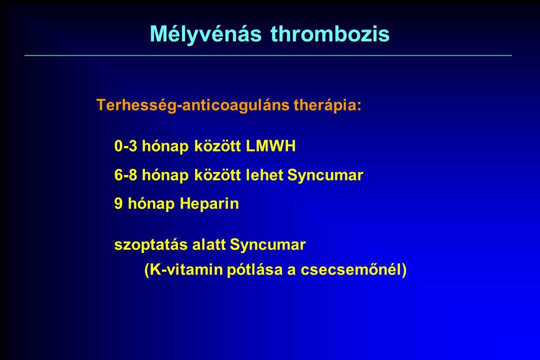 Mélyvénás thrombozis Terhesség-anticoaguláns therápia: 0-3 hónap között LMWH 6-8 hónap között lehet Syncumar 9 hónap Heparin szoptatás alatt Syncumar (K-vitamin pótlása a csecsemőnél)