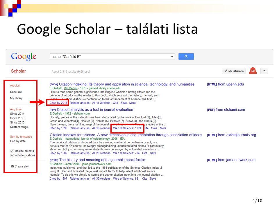 Google Scholar – találati lista 4/10