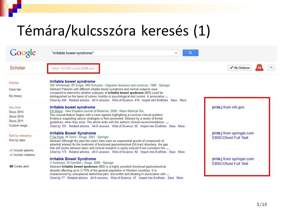 """Témára/kulcsszóra keresés (2) 6/10 AND Összetett kifejezés """"… OR NOT tumor tumour malignant"""