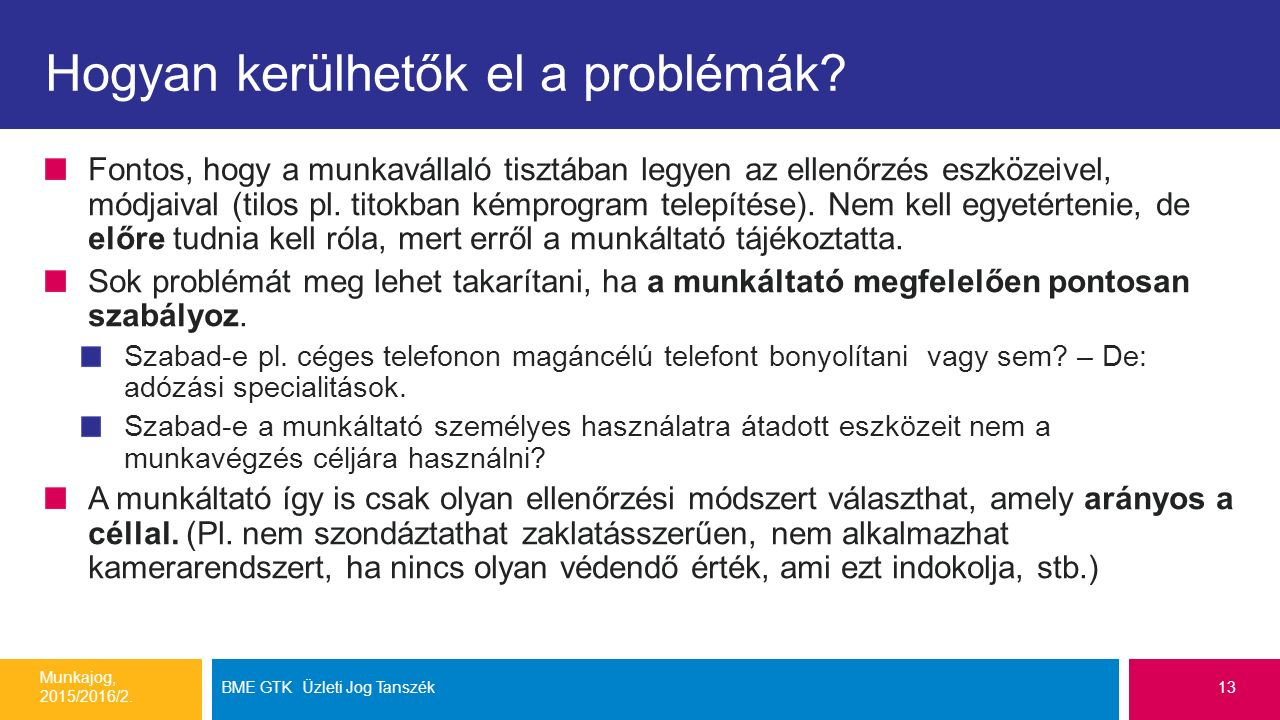 Hogyan kerülhetők el a problémák? Fontos, hogy a munkavállaló tisztában legyen az ellenőrzés eszközeivel, módjaival (tilos pl. titokban kémprogram tel
