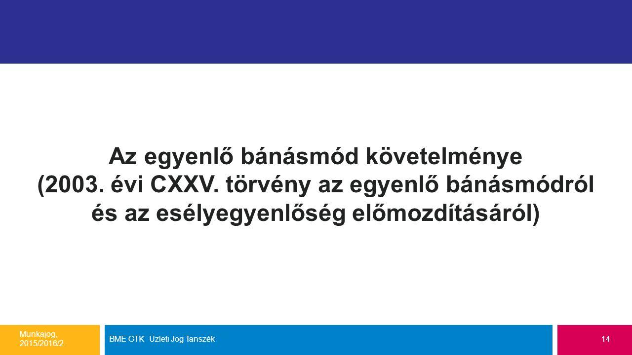 Az egyenlő bánásmód követelménye (2003. évi CXXV. törvény az egyenlő bánásmódról és az esélyegyenlőség előmozdításáról) Munkajog, 2015/2016/2. BME GTK