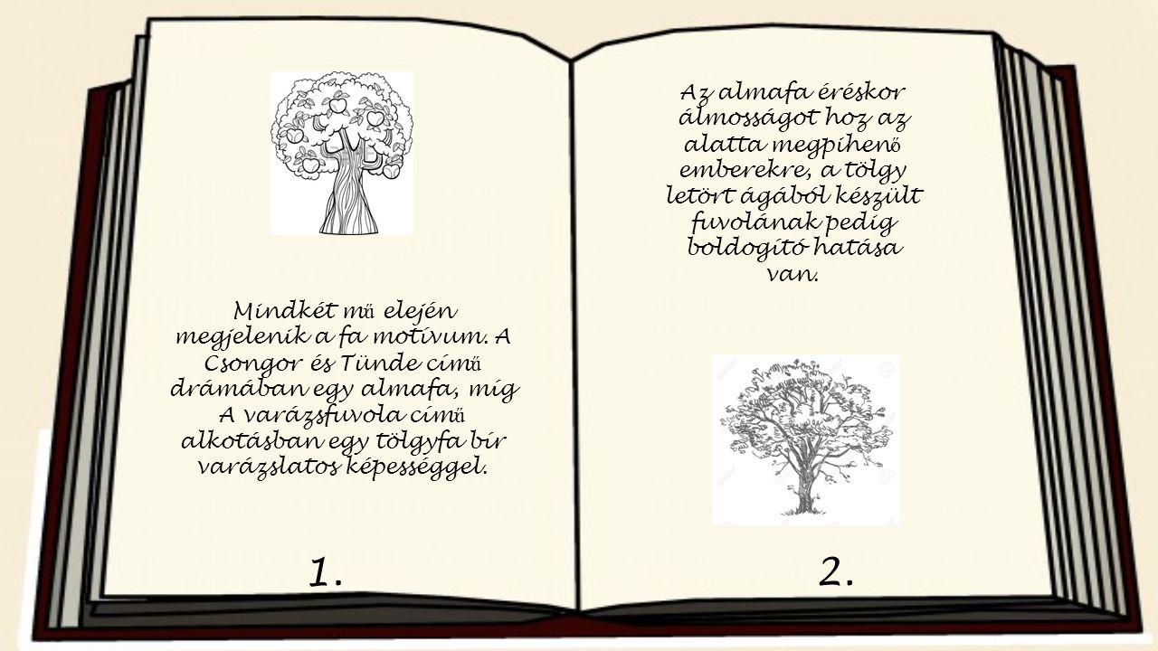 1.2. Mindkét m ű elején megjelenik a fa motívum. A Csongor és Tünde cím ű drámában egy almafa, míg A varázsfuvola cím ű alkotásban egy tölgyfa bír var