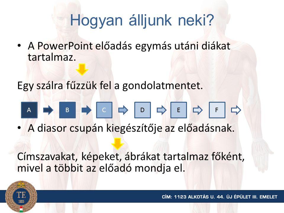 Hogyan álljunk neki? A PowerPoint előadás egymás utáni diákat tartalmaz. Egy szálra fűzzük fel a gondolatmentet. A diasor csupán kiegészítője az előad
