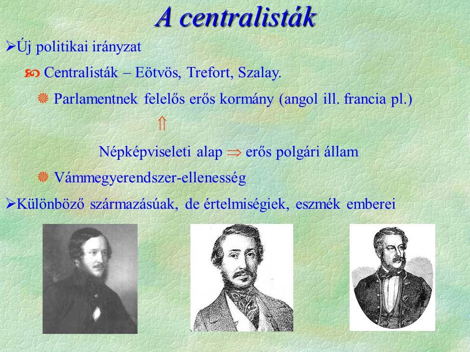  Új politikai irányzat  Centralisták – Eötvös, Trefort, Szalay.  Parlamentnek felelős erős kormány (angol ill. francia pl.)  Népképviseleti alap 