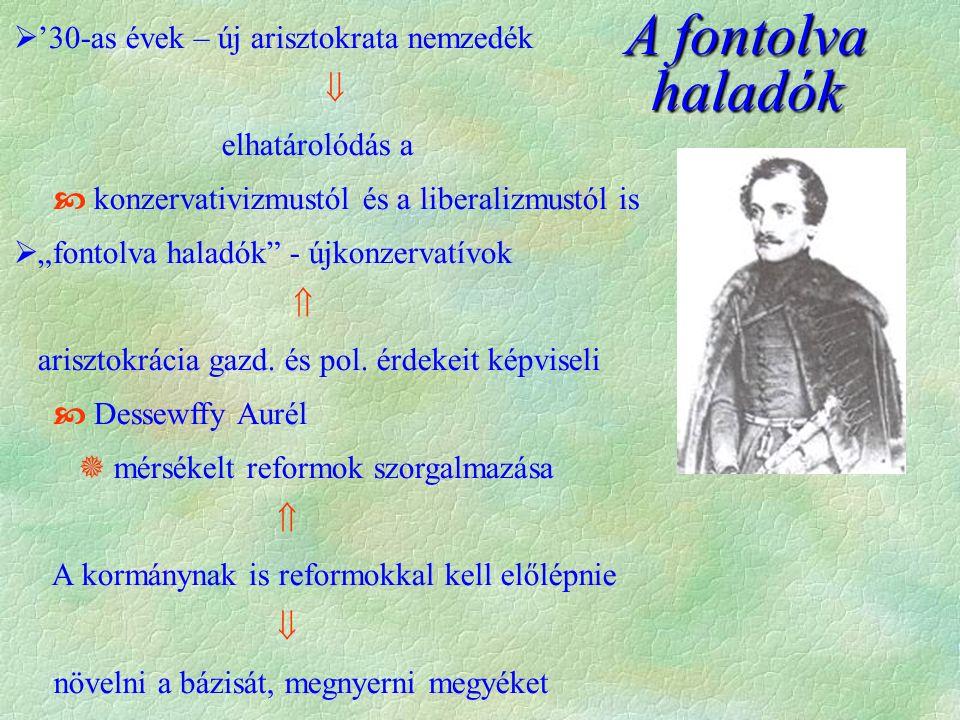 Széchenyi és Kossuth vitája  Széchenyi már Wesselényivel is összetűzésbe került  Liberális  rendi-nemzeti felfogás  Wesselényi függetlenségi törekvései miatt  Ellenzéki szellem térhódítása  Ausztriához fűződő viszony  Széchenyi Kossuth-tal is vitába szállt  Széchenyi vitája Kossuth felülről, reformokalulról, ha kell forradalom udvar támogatásával a nép által Arisztokrata vezetésselköznemesi vezetés  Széchényin túlhaladt a kor  elszigetelődött
