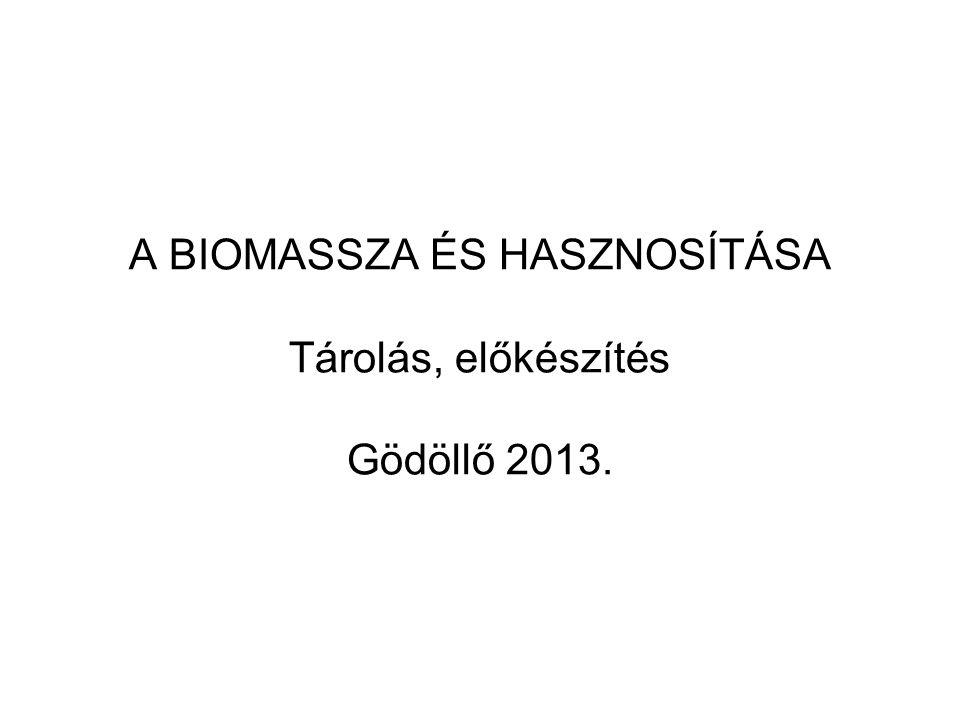 A BIOMASSZA ÉS HASZNOSÍTÁSA Tárolás, előkészítés Gödöllő 2013.