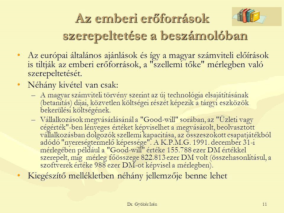 Dr. Gyökér Irén11 Az emberi erőforrások szerepeltetése a beszámolóban Az európai általános ajánlások és így a magyar számviteli előírások is tiltják a