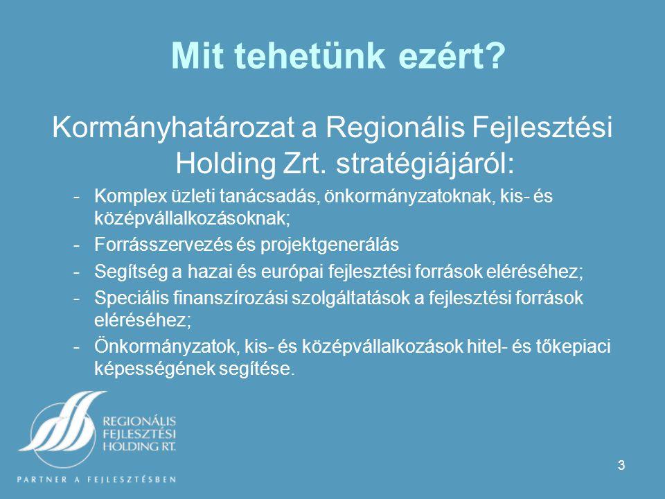 3 Mit tehetünk ezért. Kormányhatározat a Regionális Fejlesztési Holding Zrt.