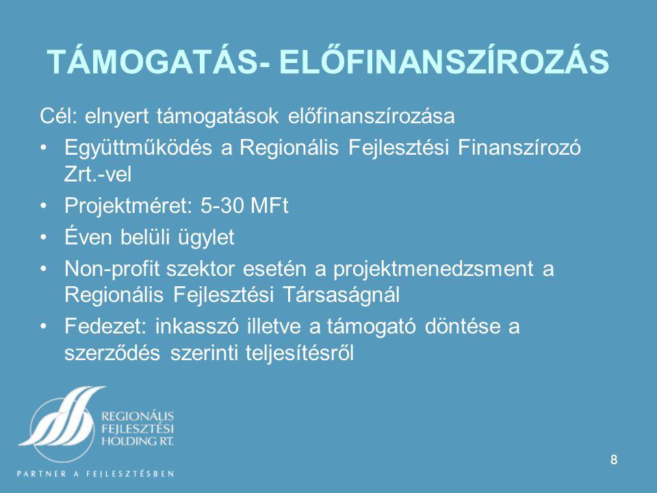 8 TÁMOGATÁS- ELŐFINANSZÍROZÁS Cél: elnyert támogatások előfinanszírozása Együttműködés a Regionális Fejlesztési Finanszírozó Zrt.-vel Projektméret: 5-30 MFt Éven belüli ügylet Non-profit szektor esetén a projektmenedzsment a Regionális Fejlesztési Társaságnál Fedezet: inkasszó illetve a támogató döntése a szerződés szerinti teljesítésről