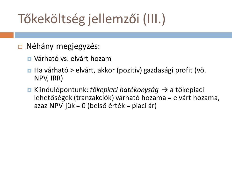 Tőkeköltség jellemzői (III.)  Néhány megjegyzés:  Várható vs. elvárt hozam  Ha várható > elvárt, akkor (pozitív) gazdasági profit (vö. NPV, IRR) 