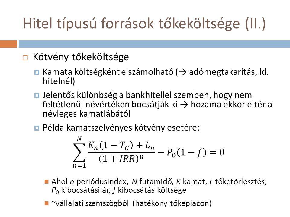 Hitel típusú források tőkeköltsége (II.)  Kötvény tőkeköltsége  Kamata költségként elszámolható (→ adómegtakarítás, ld. hitelnél)  Jelentős különbs